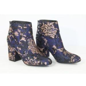 Guess Boots Metallic Booties Block Heel New